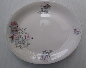 Alfred Meakin large oval platter in the Montmartre Paris cafe scene design
