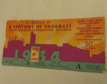 1934 Century of Progress Chicago World's Fair Ticket Stub