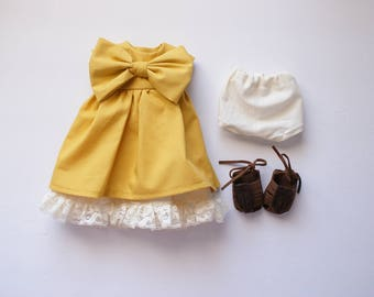 Mustard yellow doll dress, Holly's wardrobe, 18 inch doll clothes