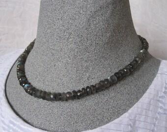 Labradorite necklace, labradorite beads, grey bead necklace