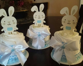 Bunny baby shower centerpieces / baby boy mini diaper cake centerpieces