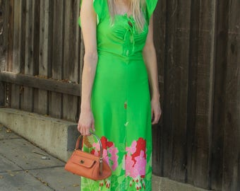 Lime Green Lace Up Floral Dress