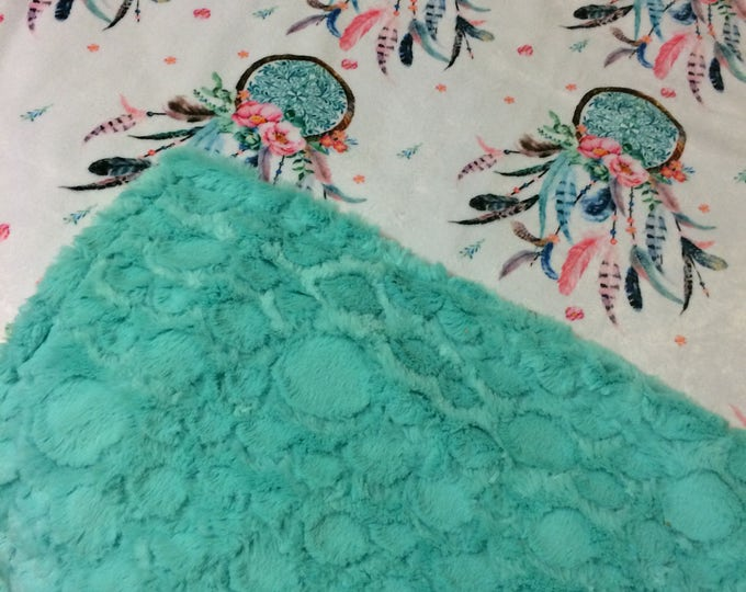 Dream Catcher Double Minky Blanket with Teal- baby to Adult sizes