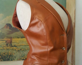 Remy Leather Co. Made in USA Softest Leather Western Wear Cowgirl Rodeo Southwest Style Vest Size S/M