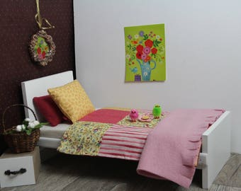 Linen bed/Linene for doll/dolls Blythe, Tangkou, Barbie, Monster High, Pullip and other format 1/6