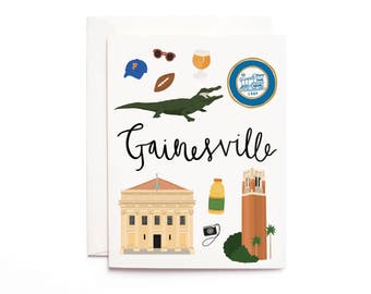 Gainesville Card, Illustrated Gainesville Greeting Card, Gainesville Gift