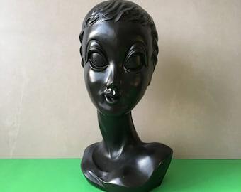 Twiggy Mannequin Head Display Vintage Retro 70'S Twiggy Shop Display Head Bust