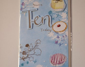 You're Ten Today   Cakes Birthday Card