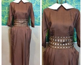 Vintage 1950s Dress - Mr Mort Designer Brown & White Polka Dot Wiggle Dress - S