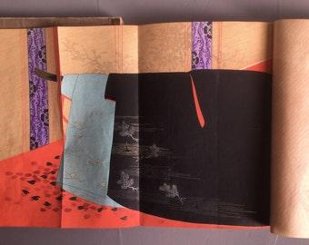 """1902, Japanese vintage original woodblock print , Kimono design book, Kadokawa Keishu, """"Hana no Tsuyu""""."""