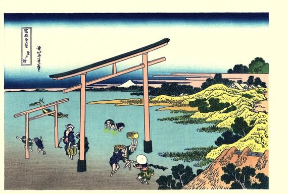 "Japanese Ukiyo-e Woodblock print, Katsushika Hokusai, ""Bay of Noboto, Thirty-six Views of Mount Fuji"""