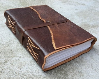 Antique Dark Brown Leather Journal Diary (Handmade) with leather tie closure - Leather Cord Coptic bound