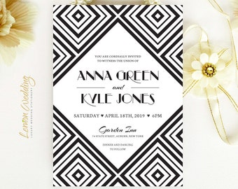 Modern geometric wedding Invitations printed on simmer cardstock paper | Black and white wedding Invitations | Art Deco wedding invites