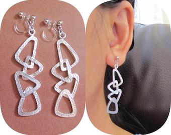 Modern Geometric Triangle Invisible clip on earrings  BA1  Matte Silver Bridal clip-on dangle earrings Wedding clip-on Non Pierced Earrings