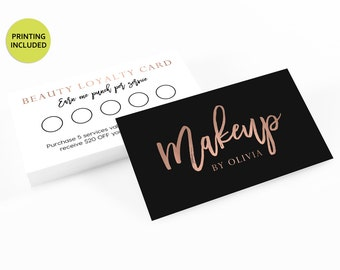 Rose Gold & Black Printed Loyalty Cards - business cards,business card design,custom business card,cards,printing,hair,makeup,stylist,gold
