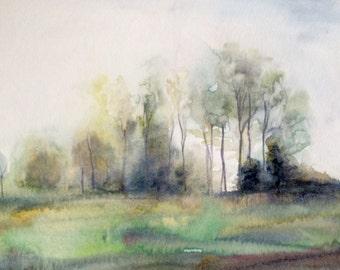 Misty trees, watercolor trees, Misty countryside, Misty landscape, rural, Misty field, Misty field landscape, English countryside, tree art