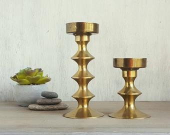 A Pair of Vintage Brass Candlesticks, 1960s Danish Modern Hoop Design, Lovely Patina, Mid Century Modern Home Decor, Minimalist Candleholder