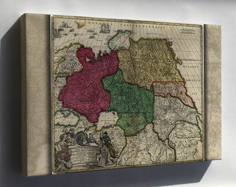 Canvas 24x36; Map Of Western Russia 1704