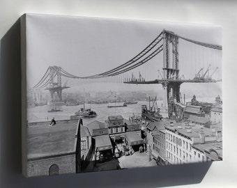 Canvas 24x36; Manhattan Bridge Construction, Made March 23Rd, 1909