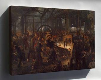 Canvas 24x36; Steelwork In Königshütte, Production Of Railway Tracks, Painting By Adolph Menzel