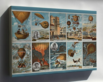 Canvas 24x36; Hot Air Balloon History 1795 To 1846