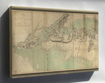 Canvas 24x36; Map Of New York Staten Island Long Island 1782