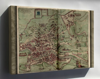 Canvas 24x36; Map Of Rome 1570