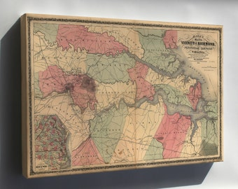 Canvas 16x24; Map Of The Vicinity Of Richmond, Virginia 1862