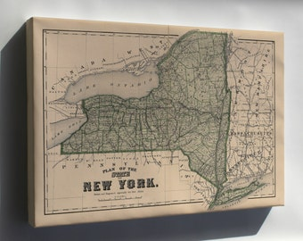 Canvas 16x24; Map Of New York State 1875