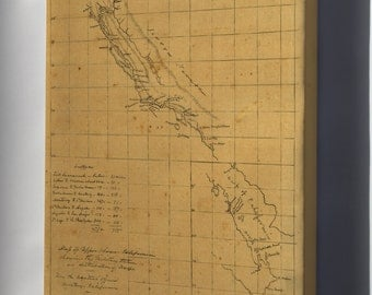 Canvas 16x24; Map Of California Military Stations 1847