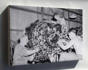 Canvas 16x24; Allison J33 Maintenance Korean War 1950