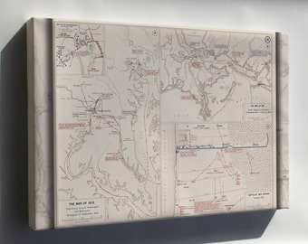 Canvas 16x24; War Of 1812 Map Of Washington D.C. Baltimore New Orleans 1814