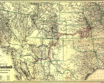 16x24 Poster; Map Showing The Atchison, Topeka And Santa Fé Railroad 1883