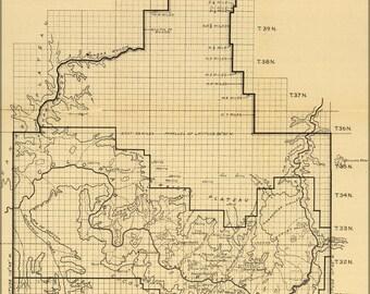 16x24 Poster; Map Grand Canyon National Monument Arizona 1908