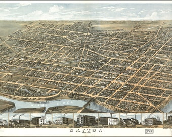 16x24 Poster; Map Of Dayton, Ohio 1870