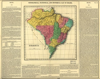 16x24 Poster; Geography Statistical Historical Map Brazil 1822