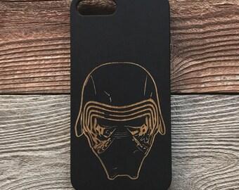 Star Wars iPhone 7 Wood Phone Case Kylo Ren Force Awakens Laser Engraved Black Bamboo iPhone 7 Plus