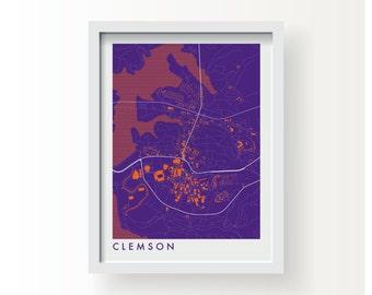 CLEMSON Map Print - graphic drawing art poster Clemson University Tigers