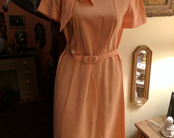 Vintage 1960's linen peach colored dress.