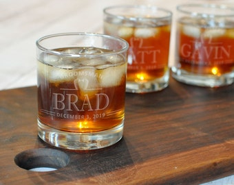 Scotch Glass - Set of 6 - Engraved Rocks Glass - Whiskey Glass - Best Man Gift - Old Fashioned Glass - Will You Be My Groomsman