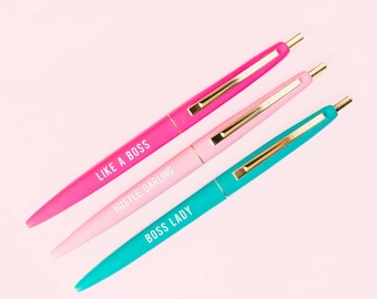 Boss Lady Pen Set, Motivational Pen, Gift for Her, Gift for Boss, Boss Lady, Girl Boss, Pen Set, Inspirational Pens, Back To School, Office