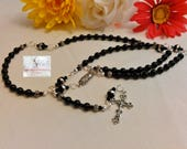 Black and Silver Rosary/Rosaries/Crucifix Silver Tone/Our Lady Of Guadalupe Silver Centerpiece/Catholic/Handmade/Traditional/Prayer Beads