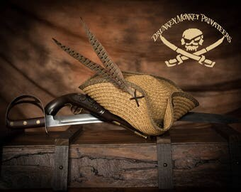 Pirate Hat, Pirate Tricorn, Tricorn, Straw Hat