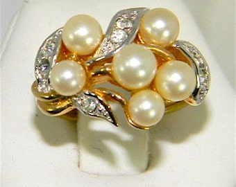 Vintage Avon Faux Pearl and CZ Ring Adjustable Sz 6-7 Gold Tone