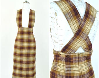 """Vintage 1950s pinafore dress sz M - L ( W 32"""" ) pencil skirt with suspenders/ brown plaid, soft wool blend / cross back buttons"""