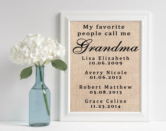 Personalized Grandma Gift | Burlap Print for Grandmother | Mothers Day Gift | Grandchildren Names Wall Art | Custom Rustic Sign