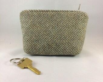 tweed zipper purse, tweed bag, tweed pouch, red zip, vintage tweed repurposed, small coin purse, beige tweed, green wallet, vintage wool