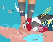Maison colorée Eiger, des chaussettes dépareillées maison chaussettes, chaussettes pour hommes et femmes, belle maison de chaussettes, femmes chaussettes, chaussettes de ferme