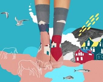 Eiger Socks, Mismatched House Socks, Colorful  House socks for women and men, Beautiful House Socks, Women Socks, Farm Socks