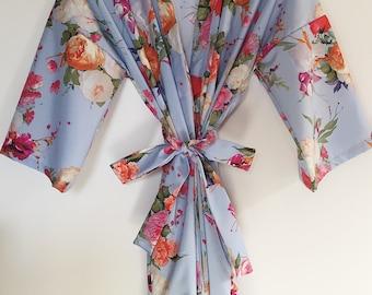 Periwinkle Blue Floral Kimono Robe
